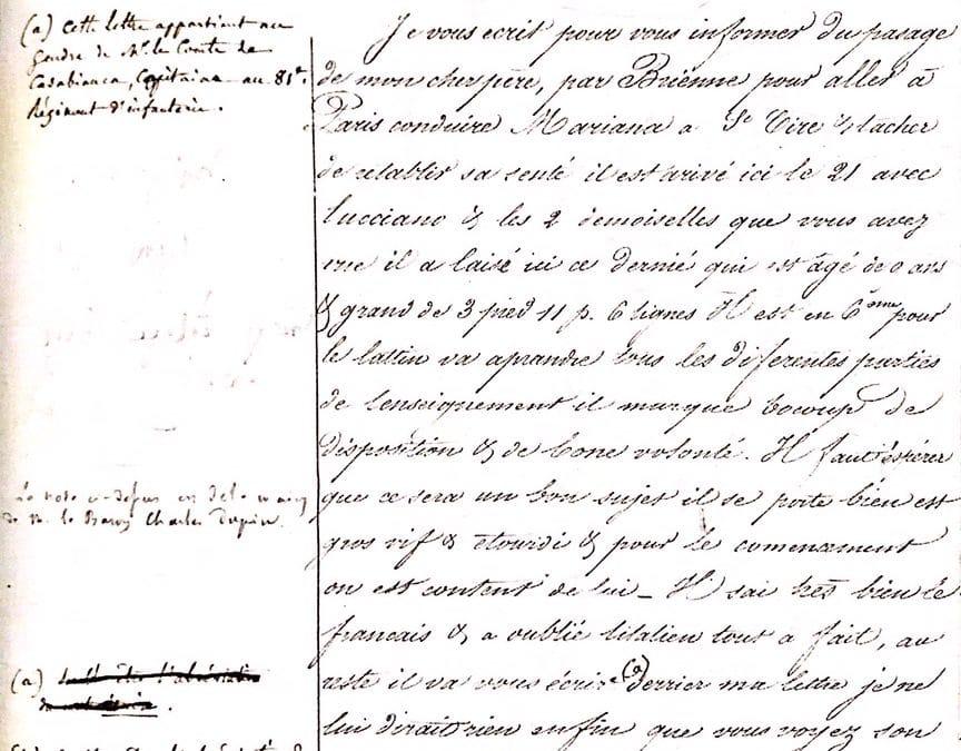 La première lettre du jeune Bonaparte