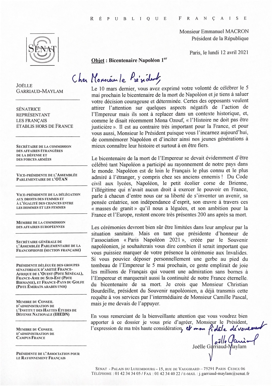 Lettre ouverte d'une sénatrice à Emmanuel Macron sur le bicentenaire de la mort de Napoléon Ier