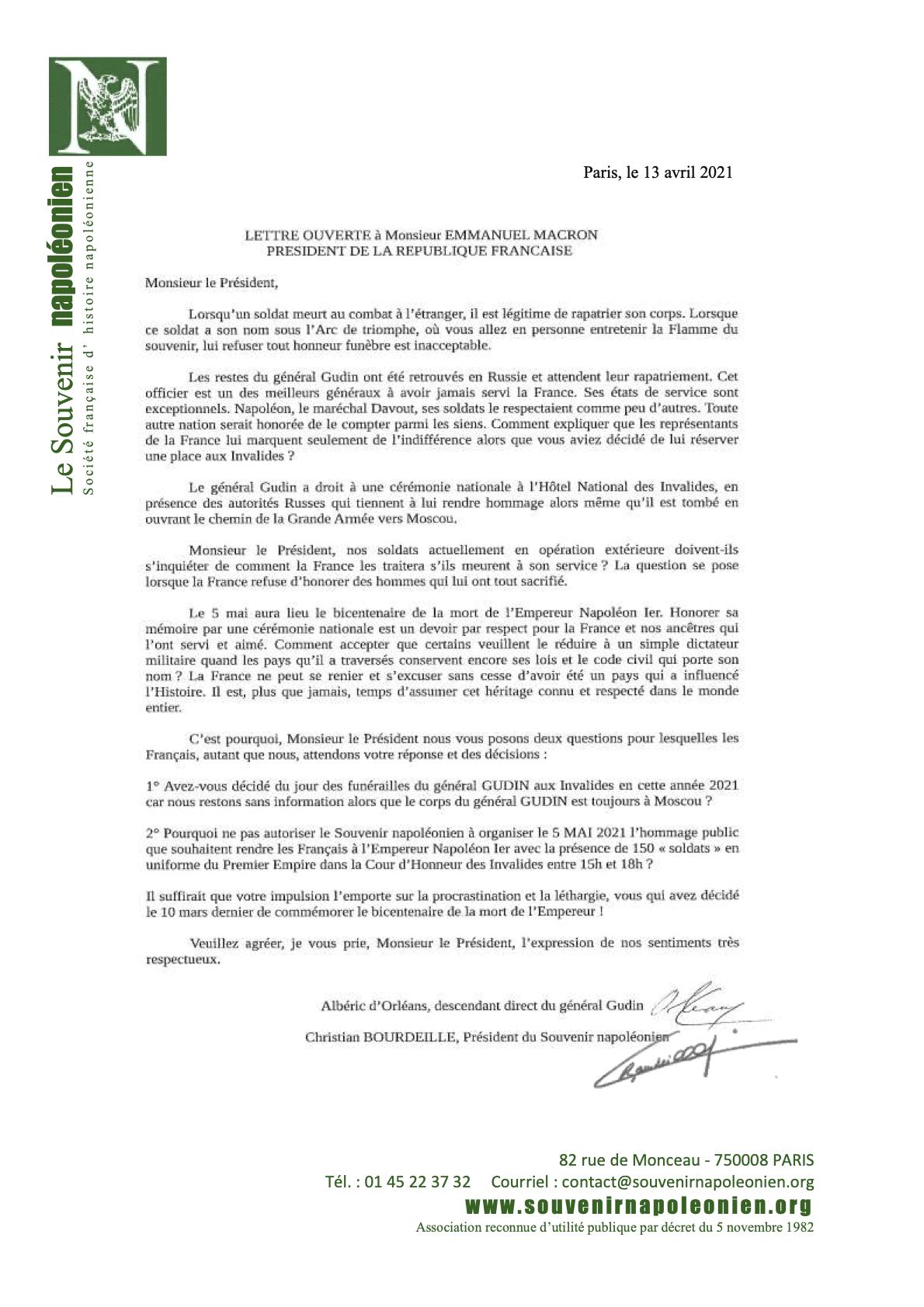 lettre ouverte à Emmanuel Macron pour le retour du Général Gudin